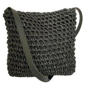 Vintage Black Corn Husk Macrame Crossbody Bag